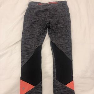 Lululemon Pace Rival Crop gray and orange size 4